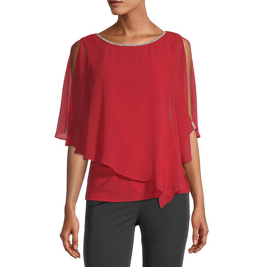 MSK Womens Round Neck 3/4 Sleeve Knit Embellished Blouse