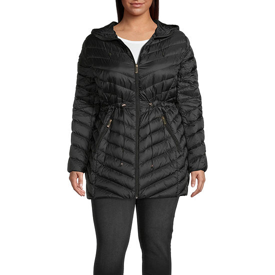 Liz Claiborne Quilted Hooded Packable Water Resistant Midweight Puffer Jacket-Plus