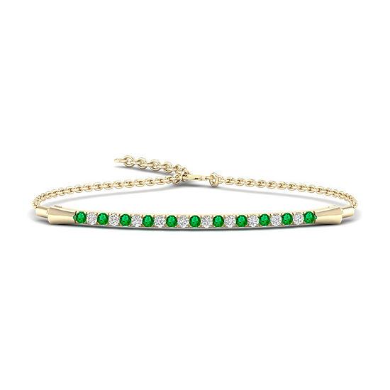 1/8 CT. T.W. Genuine Green Emerald 10K Gold Bolo Bracelet