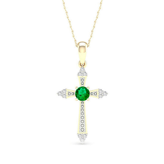 Womens Diamond Accent Genuine Green Emerald 10K Gold Cross Pendant Necklace