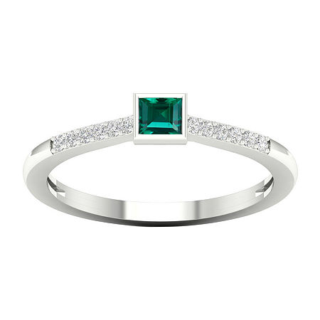 Womens Diamond Accent Genuine Green Emerald 10K White Gold Cocktail Ring, 8