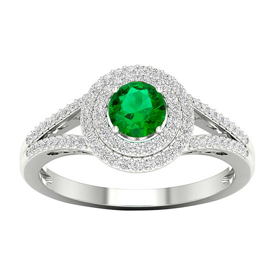 Womens 1/4 CT. T.W. Genuine Green Emerald 10K Gold Cocktail Ring