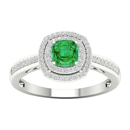 Womens 1/5 CT. T.W. Genuine Green Emerald 10K White Gold Cocktail Ring, 8 1/2