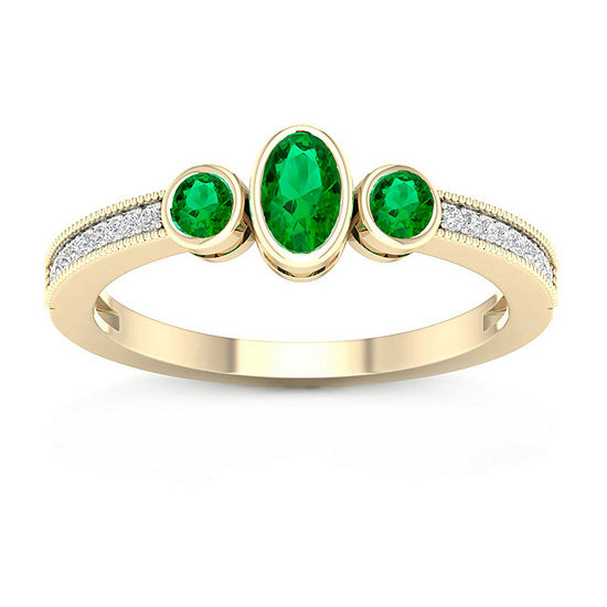 Womens Diamond Accent Genuine Green Emerald 10K Gold Cocktail Ring