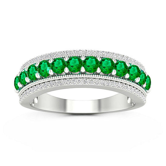 Womens 1/6 CT. T.W. Genuine Green Emerald 10K White Gold Cocktail Ring