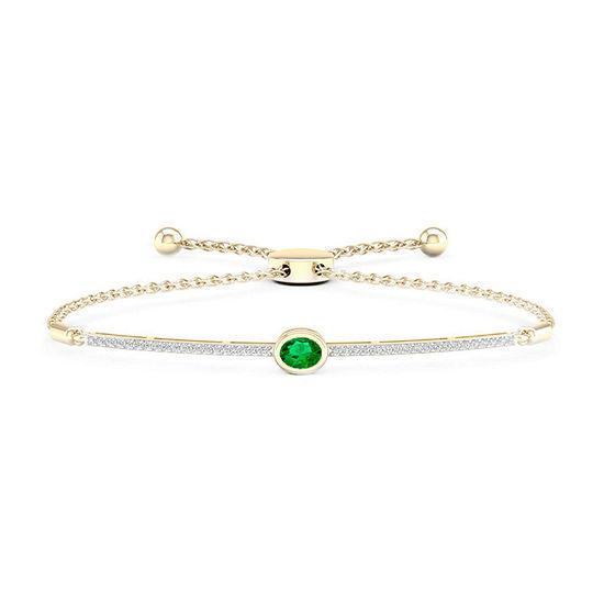1/5 CT. T.W. Genuine Green Emerald 10K Gold Over Silver Sterling Silver Bolo Bracelet