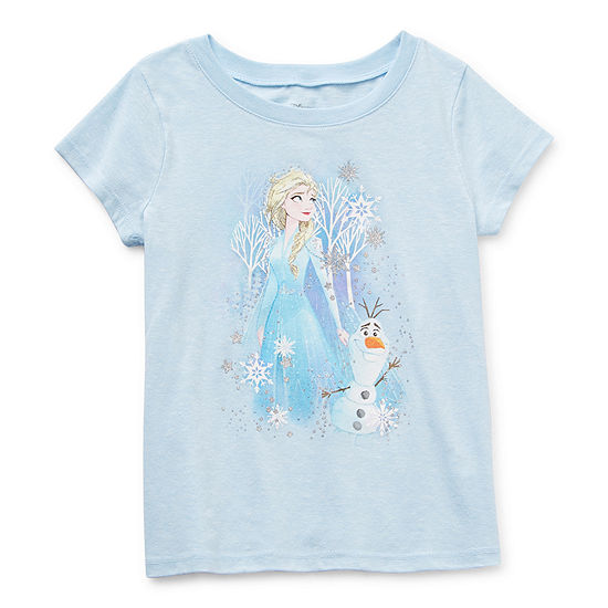 Disney Little & Big Girls Crew Neck Frozen Short Sleeve Graphic T-Shirt