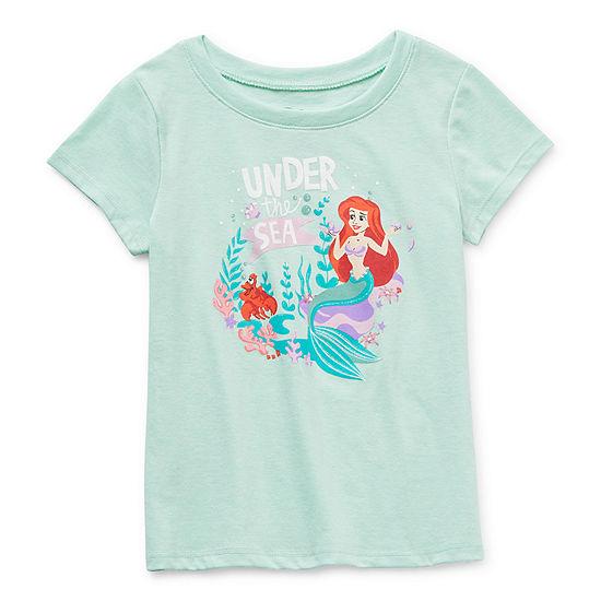 Disney Little & Big Girls Crew Neck Ariel Short Sleeve Graphic T-Shirt