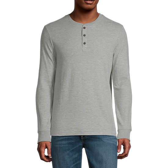 St. John's Bay Super Soft Double Knit Mens Long Sleeve Henley