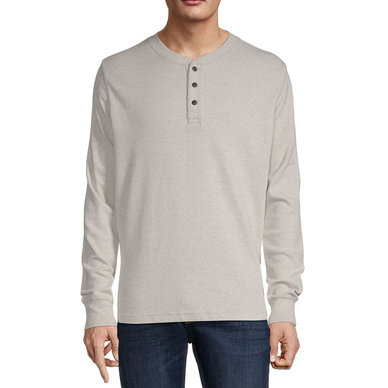 St. John's Bay Mens Heathered Long Sleeve Thermal Henley