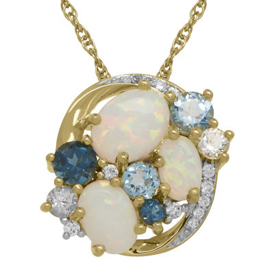 Lab-Created Opal, White Sapphire & Genuine Topaz Cluster Pendant Necklace