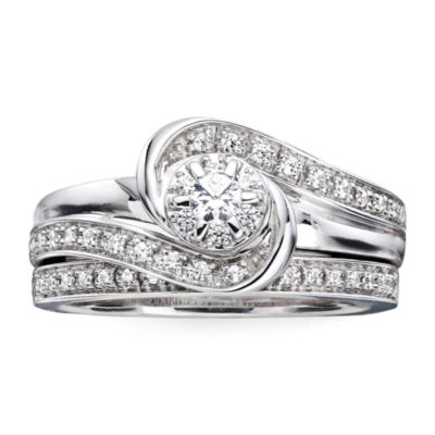 I Said Yes™ 1/3 CT. T.W. Diamond & Lab-Created Blue Sapphire Bridal Ring Set