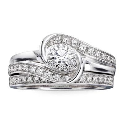 I Said Yes™ 1/3 CT. T.W. Diamond & Lab-Created Blue Sapphire Bridal Ring Set