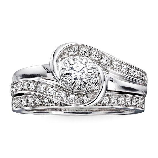 I Said Yes 1 3 Ct Tw Diamond Lab Created Blue Sapphire Bridal Ring Set