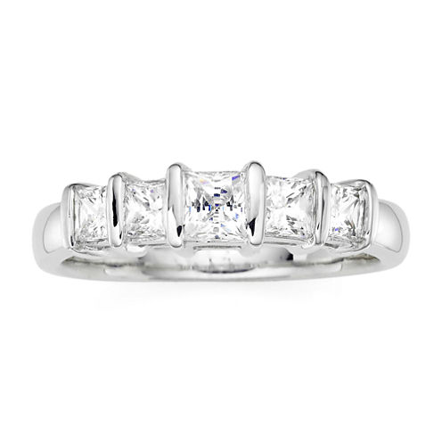 1 CT. T.W. Diamond 10K White Gold Princess 5-Stone Ring
