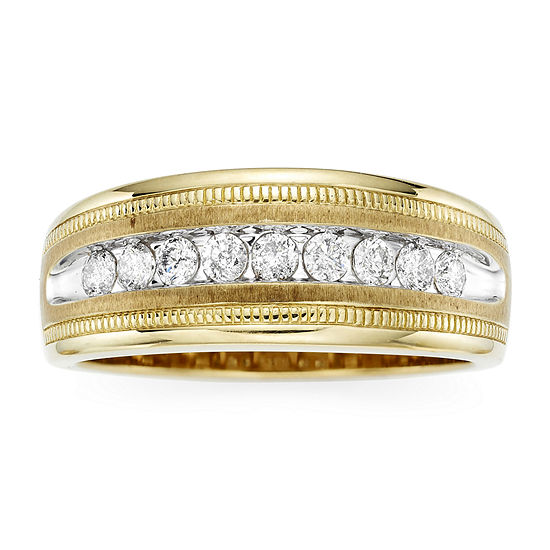 Mens 1/2 CT. T.W. Genuine White 10K Gold Wedding Band