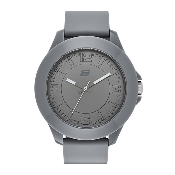 Skechers® Mens Gray Silicone Analog Watch