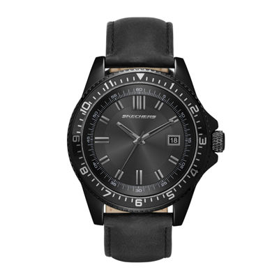Skechers® Mens Black Leather Strap Analog Watch