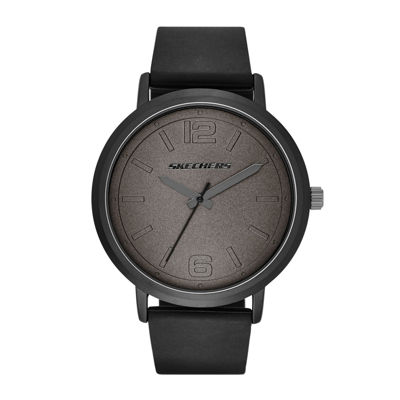 Skechers® Mens Black Silicone Strap Analog Watch