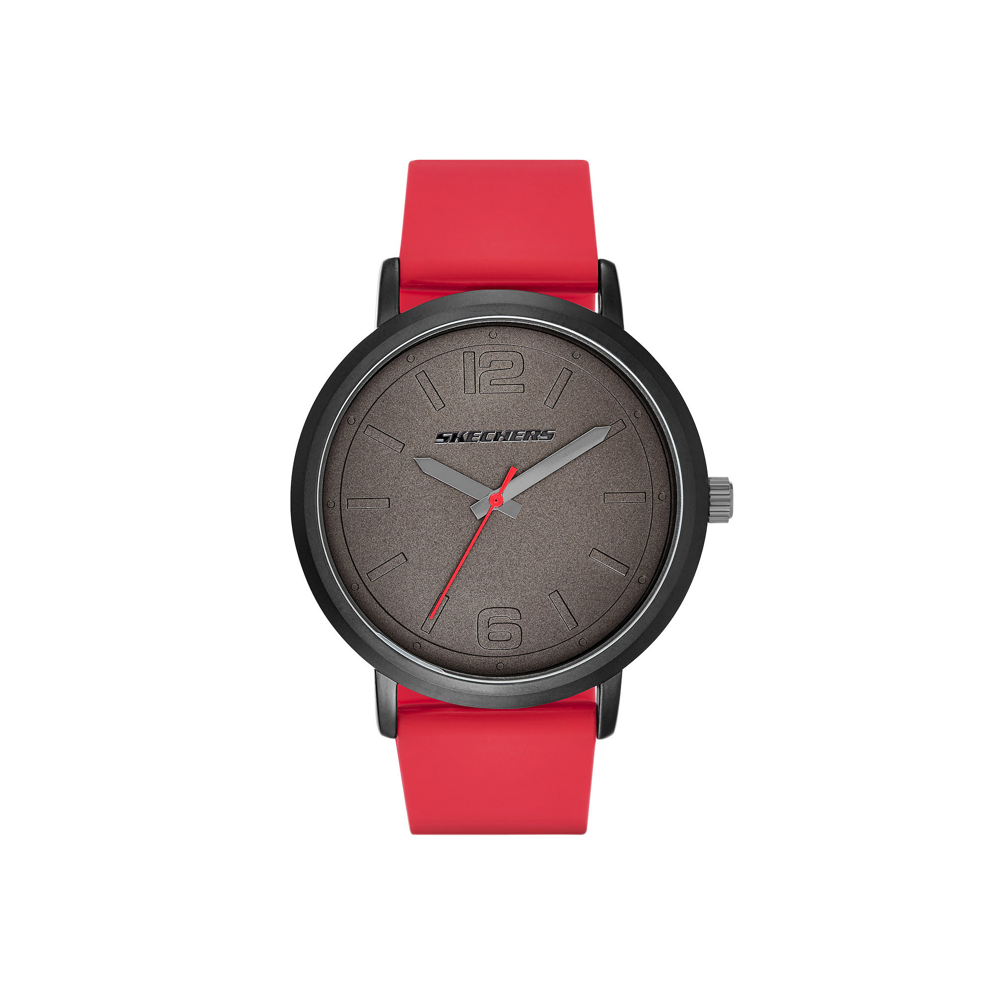 Skechers Mens Black and Red Silicone Strap Analog Watch