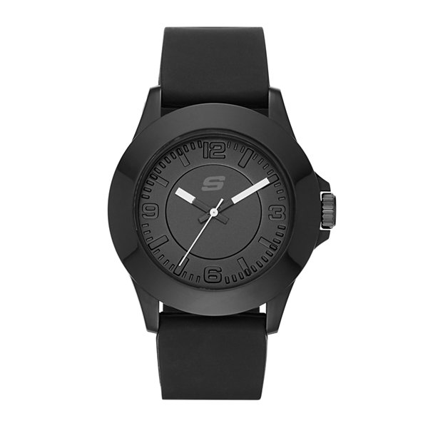 Skechers® Womens Black Dial Black Silicone Strap Analog Watch