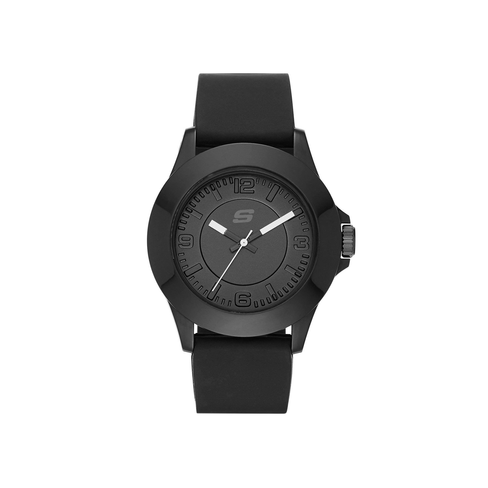 Skechers Womens Black Dial Black Silicone Strap Analog Watch