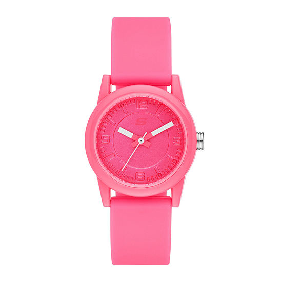 Skechers® Womens Neon Pink Dial Pink Silicone Strap Analog Watch