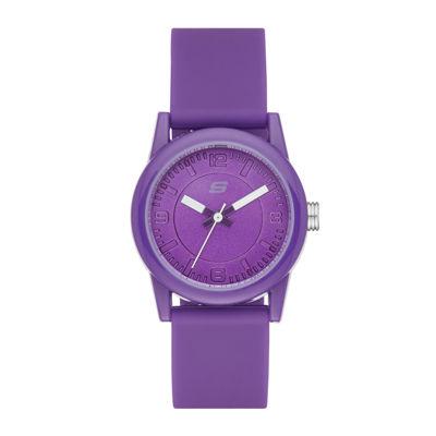 Skechers® Womens Purple Dial Purple Silicone Strap Analog Watch