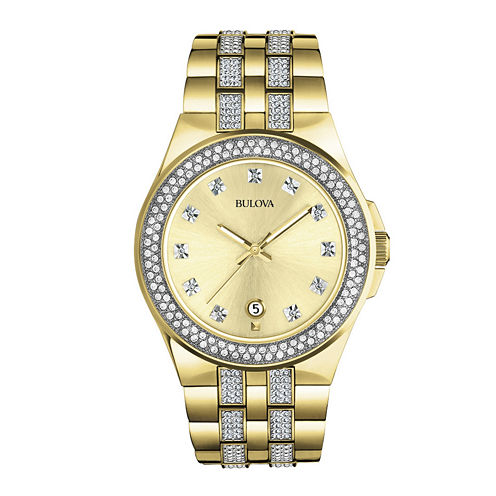 Bulova® Mens Gold-Tone Crystal-Accent Watch 98B174