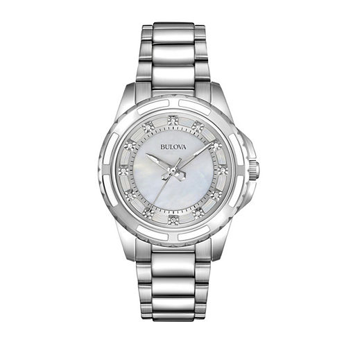 Bulova® Womens Silver-Tone Mother-of-Pearl Diamond-Accent Watch 96P144
