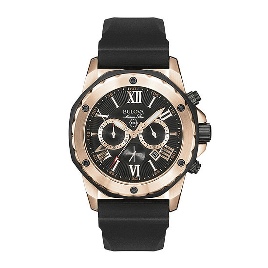 Bulova Marine Star Mens Chronograph Black Strap Watch-98b104