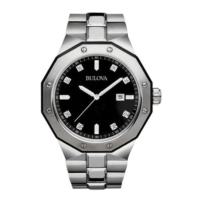 Bulova® Mens Diamond-Accent Stainless Steel Watch