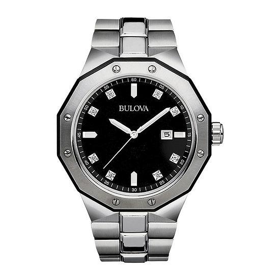 Bulova Mens Silver Tone Stainless Steel Bracelet Watch-98d103