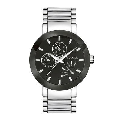 Bulova® Mens Black-Dial Stainless Steel Watch 96C105