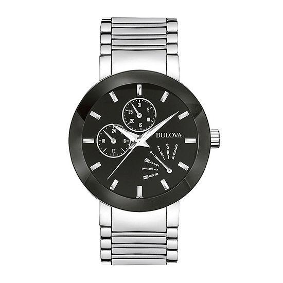 Bulova Futuro Mens Multi-Function Silver Tone Stainless Steel Bracelet Watch - 96c105