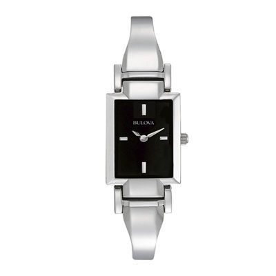 Bulova® Womens Rectangular Black Dial Stainless Steel Bangle Watch 96L138