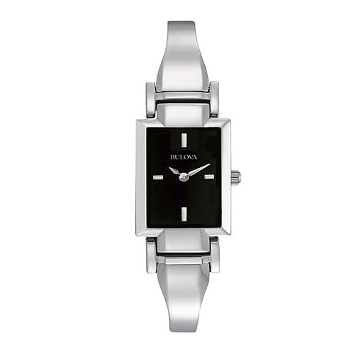 Bulova® Womens Rectangular Black Dial Stainless Steel Bangle Watch 96L138