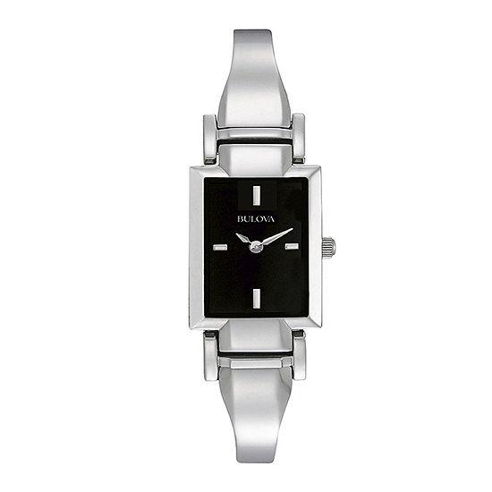 Bulova Classic Womens Silver Tone Bangle Watch-96l138