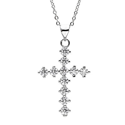 Sparkle Allure™ Cubic Zirconia Silver-Plated Cross Pendant Necklace