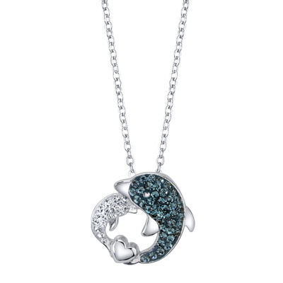Crystal Sophistication™ Blue and White Crystal Dolphin Pendant Necklace