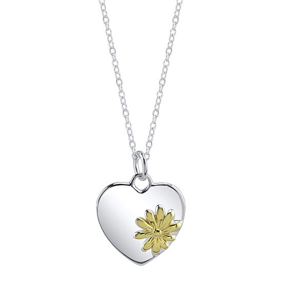 Footnotes® Two-Tone Sterling Silver Heart Flower Pendant Necklace