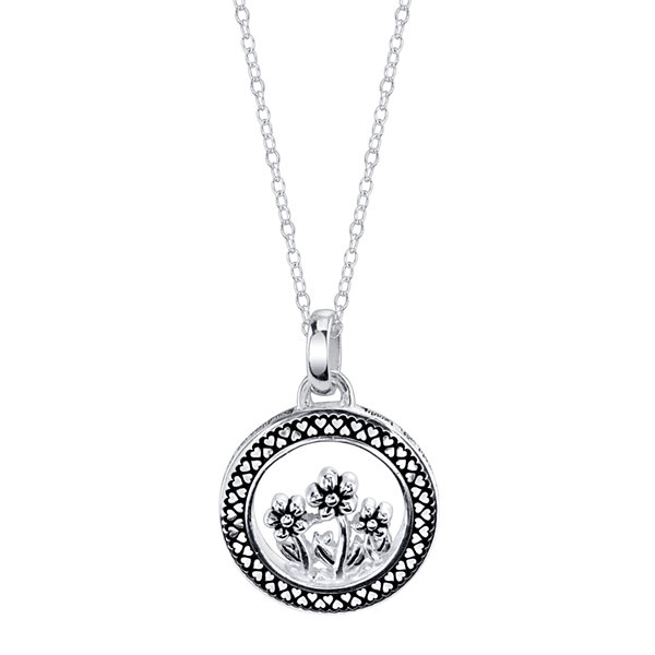 Footnotes® Silver Round Flowers Pendant Necklace