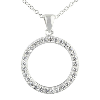 Silver Enchantment™ Cubic Zirconia Sterling Silver Circle Pendant Necklace