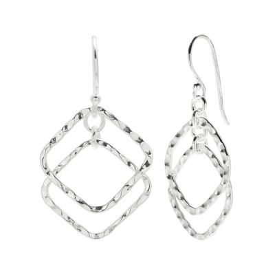 Sterling Silver Hammered Double Diamond-Shaped Earrings