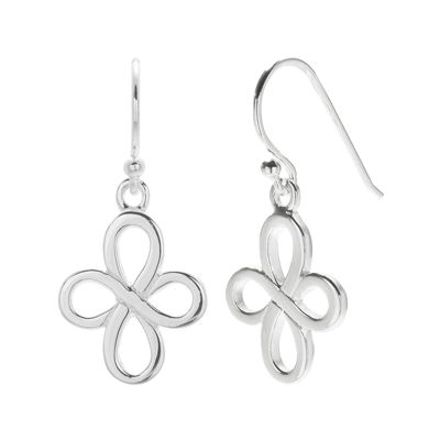 Sterling Silver Polished Ribbon Cross Drop Earrings