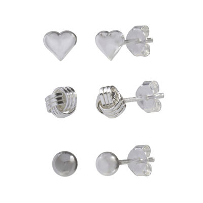 Sterling Silver Trio Set Polished Stud Earrings