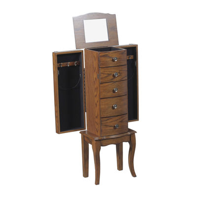 Olivia Oak Jewelry Armoire
