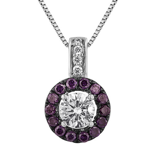 LIMITED QUANTITIES 5/8 CT. T.W. White and Color-Enhanced Purple Diamond Halo Pendant Necklace