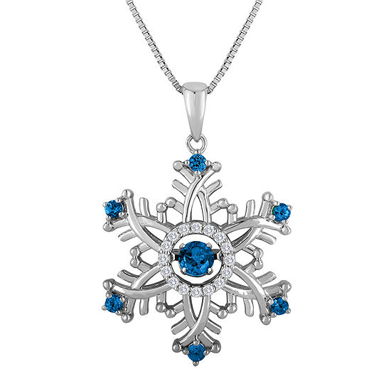 Love in Motion™ Genuine Blue Topaz and Lab-Created Sapphire Snowflake Necklace