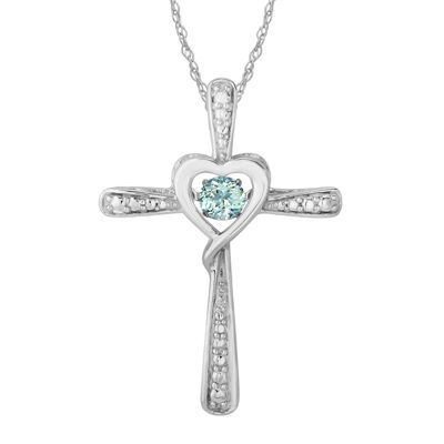 Love in Motion™ Simulated Aquamarine and Diamond-Accent Cross Pendant Necklace